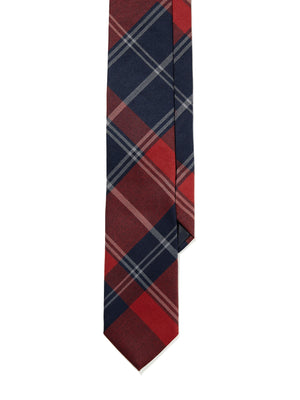 Tie - Navy Burnt Orange Plaid