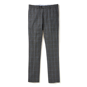Italian Wool Dress Pants - Grey Light Blue Windowpane