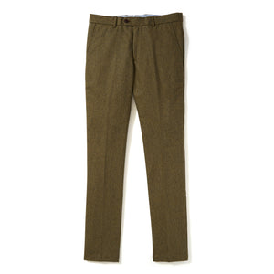 Italian Wool Flannel Dress Pants - Mustard Olive