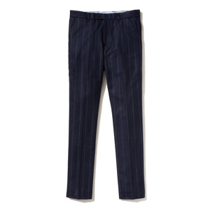 Italian Wool Flannel Dress Pants - Navy Stripe