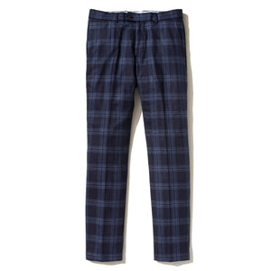 Italian Wool Flannel Dress Pants - Navy Blue Check