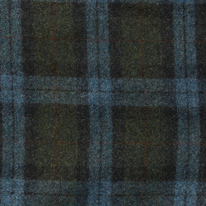 Italian Wool Flannel Dress Pants - Olive Blue Check