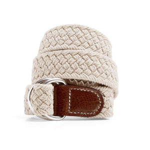 Beige Macrame Web Belt with D-Ring
