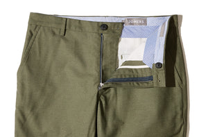 Bourne (Slim) - Olive Reverse Double Cloth Chino