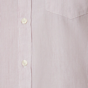 Washed Button Down Shirt - Burgundy Pencil Stripe