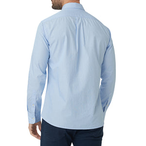 Washed Button Down Shirt - Sky Blue Pencil Stripe