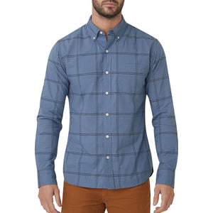 Washed Button Down Shirt - Blue Jaspe Plaid