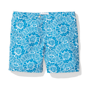 Blue Paisley Print Swim Trunks