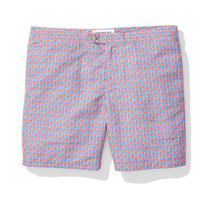Red and Blue Clover Print Swim Trunks