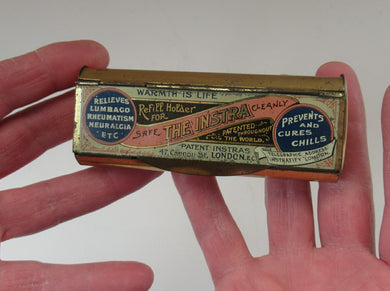 Victorian Tin with Original Contents. Charcoal Refills for the INSTRA HAND WARMER