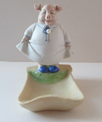 Antique Porcelain Nodder or Swinger Pin Tray by Schafer & Vater. Wee Pig Dressed as Lady