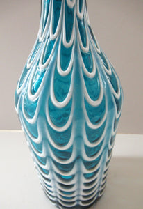 Italian EMPOLI Blue Glass Vase  Wave Pattern