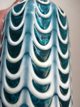 Load image into Gallery viewer, Italian EMPOLI Blue Glass Vase  Wave Pattern