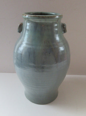 1940s UPCHURCH Large British Studio Art Pottery Vase in Attractive Grey-Blue Tones