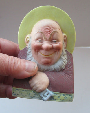 Antique Porcelain SMOKING Head Ashtray and Match Holder by Schafer & Vater. SAINT PETER