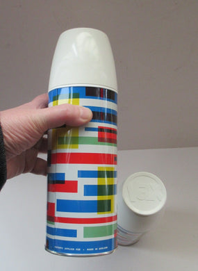 1960s VAX Thermos Flask or Vaccum Flask. Geometric Abstract Pattern