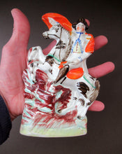 Load image into Gallery viewer, 1850s Staffordshire Figurine of the Emperor Napoleon Crossing the Alps