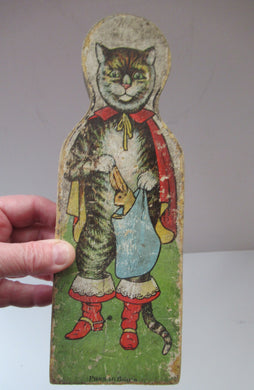 Antique Wooden Skittle Pantomime Cat Puss in Boots