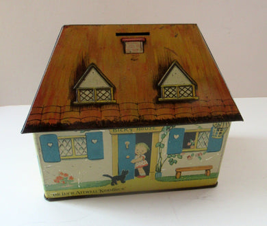 Rare 1930s MABEL LUCIE ATTWELL Kiddibics: Bicky House Biscuit Tin or Bank. Made for William Crawford