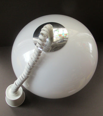 1970s Guzzini Style White Space Age Ball Rise and Fall Plastic & Chrome Hanging Shadee