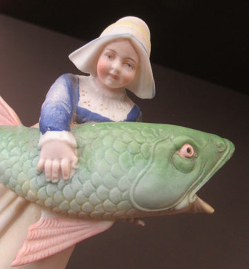 Schafer & Vater Figurine. Dutch Girl Carrying a Massive Fish