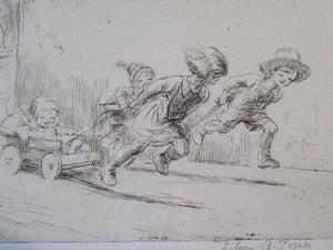 1923 Eileen Soper The Go Cart Race Pencil Signed Etching