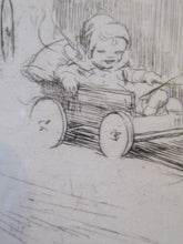 Load image into Gallery viewer, 1923 Eileen Soper The Go Cart Race Pencil Signed Etching