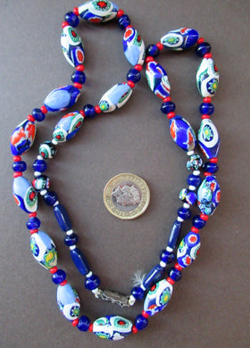 Good Quality Vintage Millefiori Murano Glass Bead Necklace. Total Length 26 inche