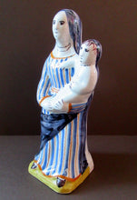 Load image into Gallery viewer, Antique French Quimper Faience Figurine of the Madonna and Child