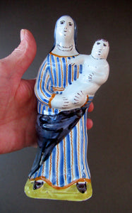 Antique French Quimper Faience Figurine of the Madonna and Child