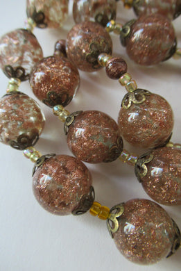 Vintage Gold Aventurine Murano Glass Bead Necklace. Total Length 24 inches