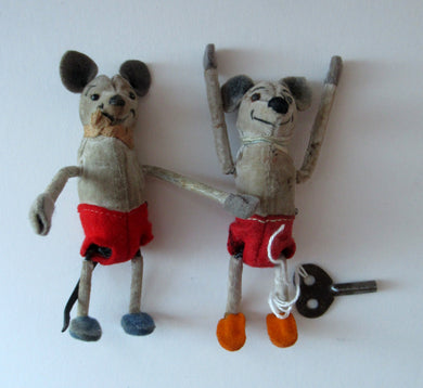 PAIR of 1930s Schuco Disney Mickey Mouse Tumbling Clockwork Toys