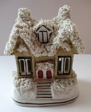 Antique Staffordshire Porcelain VICTORIAN Snow Covered Cottage Pastille Burner