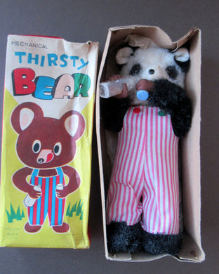 Rare Vintage 1950s ALPS Japan Mechanical Wind-Up Thirsty Bear / Panda Toy in Original Box