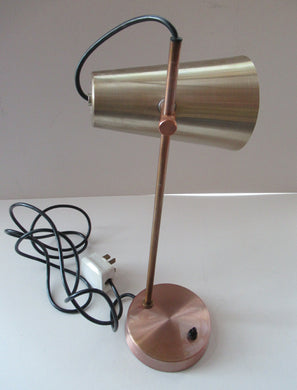 Vintage 1960s Desk Lamp with Moveable Metal Cone Shade & Finger Switch. WORKING