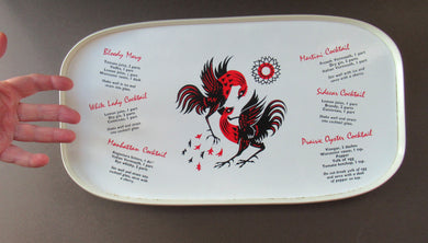 Vintage 1950s Melamine Bar Tray with Six Cocktail Recipes. Stylized Images of Two Cockerels