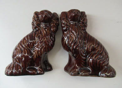 ANTIQUE 19th Century Miniature Red Clay, Treacle Glaze MINIATURE Staffordshire Dogs
