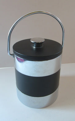 Vintage 1960s JAPANESE Silvered Metal and Black Plastic Ice Bucket with Futuristic Design