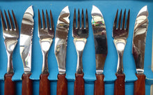 Load image into Gallery viewer, Vintage 1960s GLOSSWOOD Cutlery. Stainless Steel Fish Knives and Forks with Teak Effect Handles. Original Retail Box