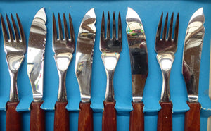 Vintage 1960s GLOSSWOOD Cutlery. Stainless Steel Fish Knives and Forks with Teak Effect Handles. Original Retail Box