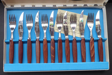 1960s Glosswood Cutlery Steak Knives and Forks with Teak Handles
