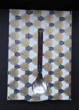 Load image into Gallery viewer, Vintage 1960s GLOSSWOOD Cutlery. Stainless Steel Six Dessert Spoons & Larger Serving Spoon with Teak Effect Handles. Original Retail Box