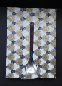 Vintage 1960s GLOSSWOOD Cutlery. Stainless Steel Six Dessert Spoons & Larger Serving Spoon with Teak Effect Handles. Original Retail Box