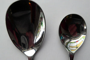 1960s Glosswood Cutlery Six Dessert Spoons and Serving Spoon