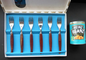 1960s British Glosswood Cutlery. Box of Six Forks