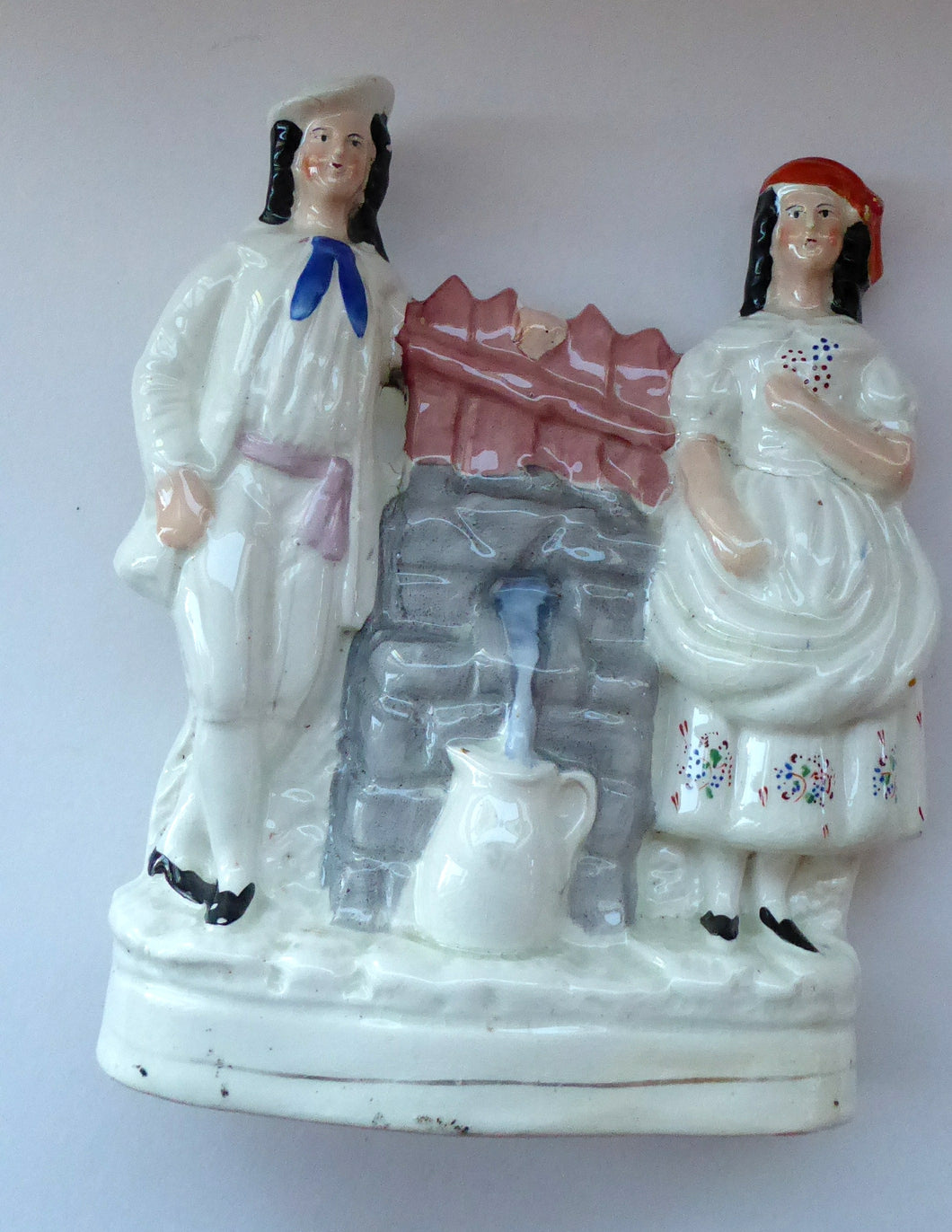 Antique STAFFORDSHIRE Flatback Figurine. Victorian Couple Standing Beside a Water Wall. Excellent Condition