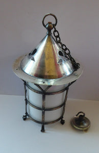 Vintage Arts and Crafts Metal and Glass Shade Pendant Hall Lantern. Early 20th Century Lamp