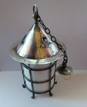 Load image into Gallery viewer, Vintage Arts and Crafts Metal and Glass Shade Pendant Hall Lantern. Early 20th Century Lamp