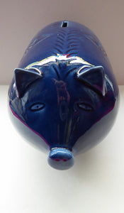 LARGE 1960s Vintage Ceramic Piggy Bank or Money Box. With Incised Floral Patterns, Shiny Blue Glaze and Original Stopper