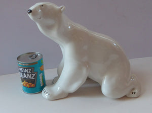 MASSIVE: Vintage Russian / LOMONOSOV Imperial Porcelain Factory White POLAR Bear. Height 10 1/2 inches